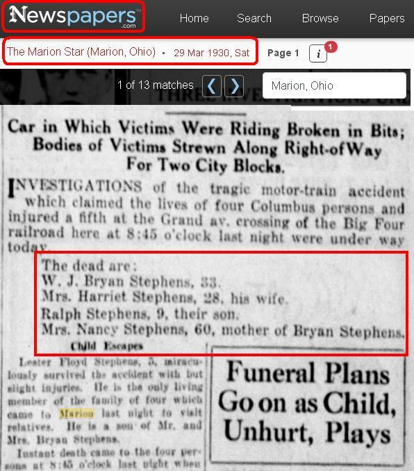 blog - death - 1930 Mar - Nancy Stephens - Ohio