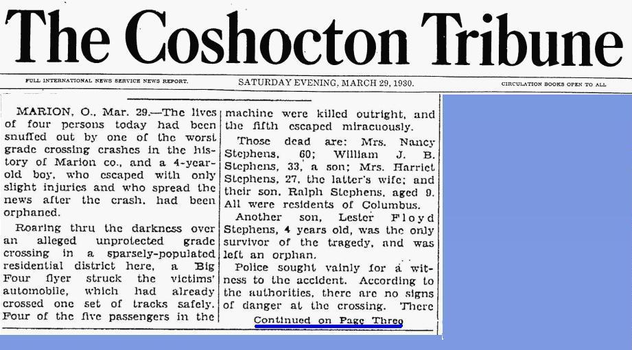 blog - Stephens - family died Mar 1930 - Marion Ohio