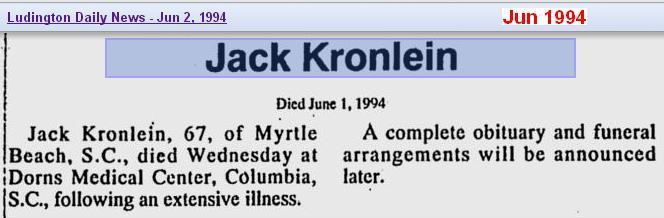 death - Jack H Kronlein - Jun 1994 - SC