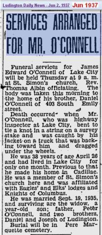funeral - James Edward OConnell - Jun 1937 - Mich