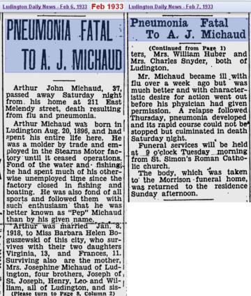 obit - Arthur John Michaud - Feb 1933 - Mich