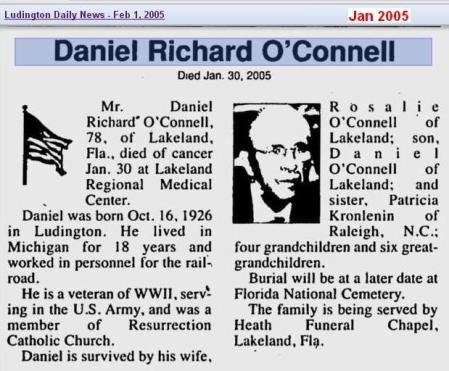 obit - Daniel Richard OConnell - Feb 2005 - Florida