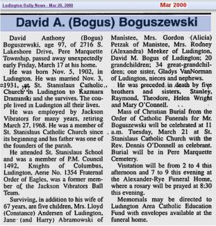 obit - David A Bogus Boguszewski - Mar 2000 - Mich