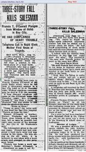 obit - Francis T O'Connell - Aug 1925 - Mich