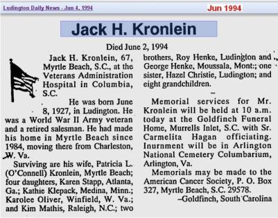 obit - Jack H Kronlein - Jun 1994 - SC