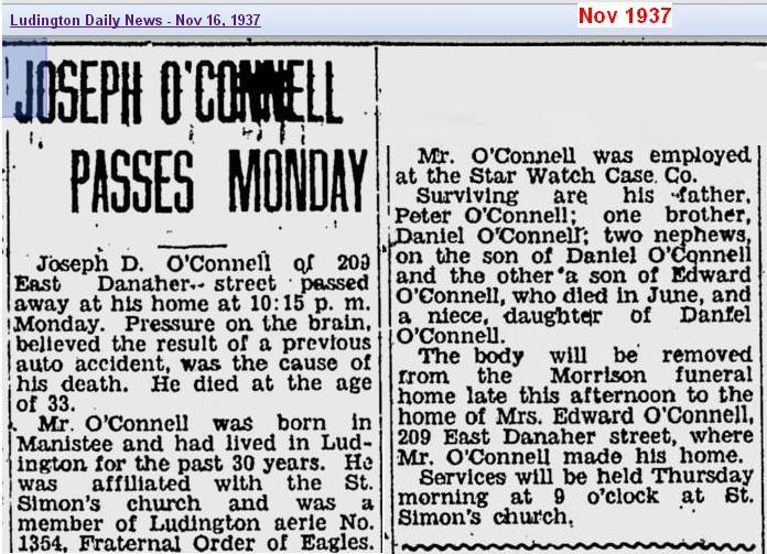 obit - Joseph OConnell - Nov 1937 - Mich - cropped