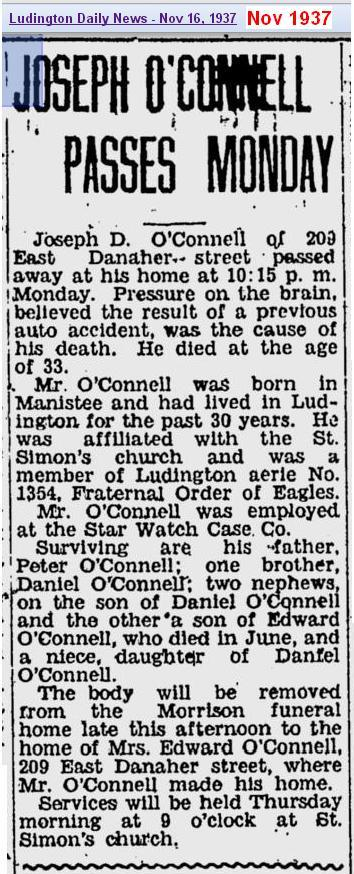 obit - Joseph OConnell - Nov 1937 - Mich