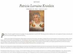 obit - Partricia Lorraine Kronlein - 23 Feb 1929 - 21 Jun 2017