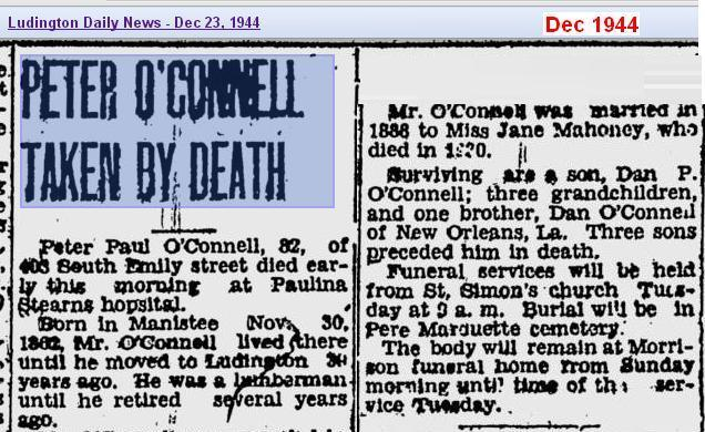 obit - Peter OConnell - Dec 1944 - Mich - Cropped