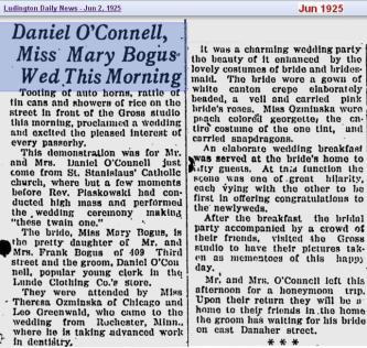 wedding - OConnell 2 Bogus - Jun 1925 - Mich - cropped
