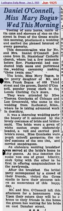 wedding - OConnell 2 Bogus - Jun 1925 - Mich