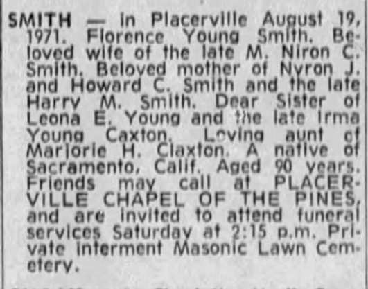 obit - Florence Young Smith 19 Aug 1971