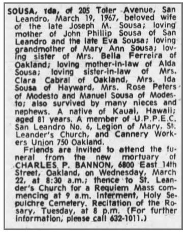 obit - Ida Sousa - 21Mar1967 - Oakland - mother of John Phillip Sousa