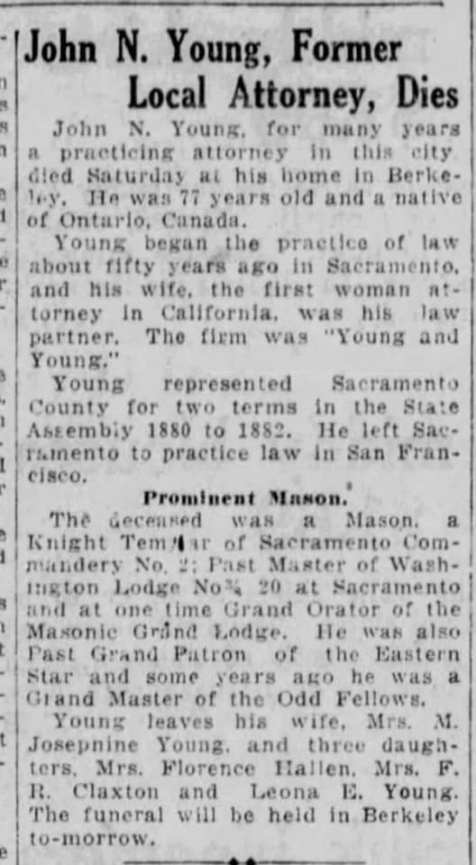 obit - John Nelles Young - May 1921 - Calif b