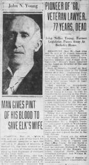 obit - John Nelles Young - May 1921 - Calif