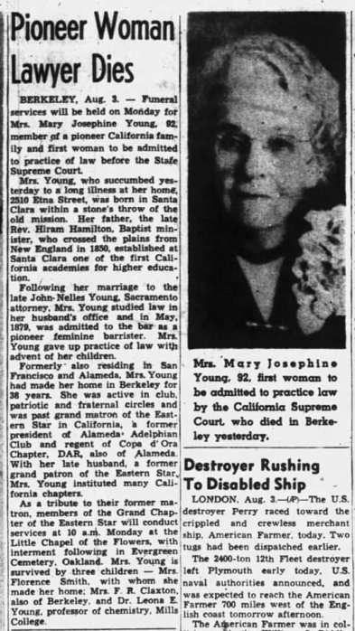 obit - Mary Josephine Young - mother of Florence