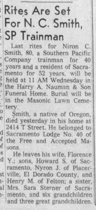 obit - Niron C Smith - 1961 - Sacramento, Calif