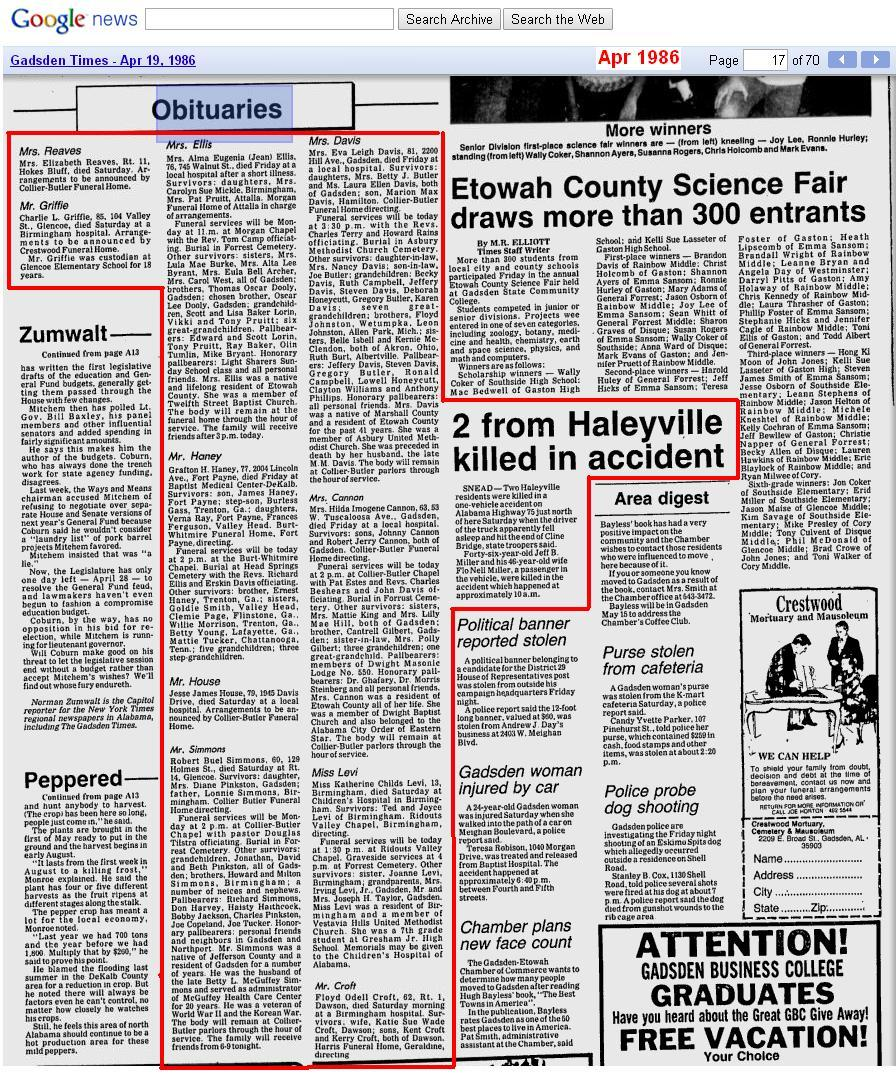 05 - Apr 20 1986 - items in Alabama newspaper