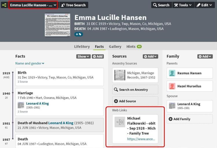 Emma profile page with link box