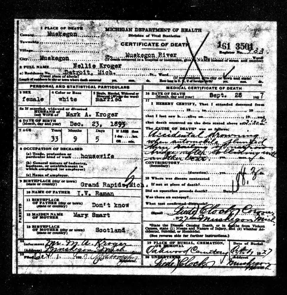 Nellie - death cert full