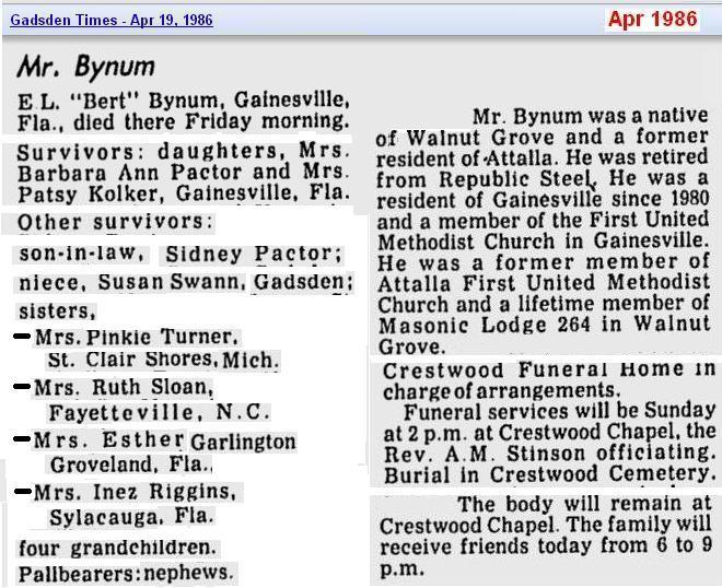 obit - Elbert L Bynum - Apr 1986 - Alabama - cropped 2