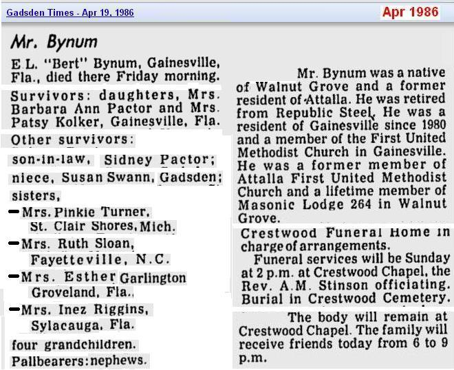obit - Elbert L Bynum - Apr 1986 - Alabama - cropped 2