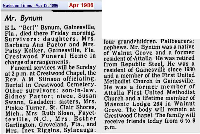 obit - Elbert L Bynum - Apr 1986 - Alabama - cropped