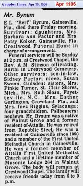 obit - Elbert L Bynum - Apr 1986 - Alabama