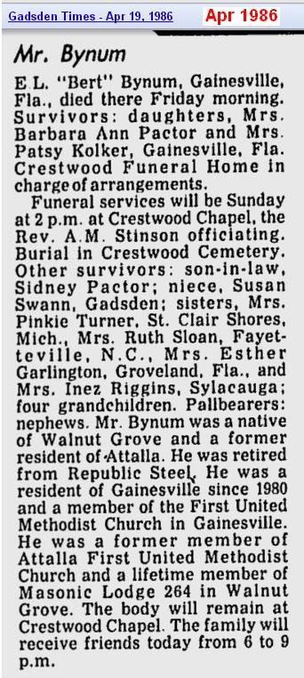 obit - Elbert L Bynum - Apr 1986 - Alabama