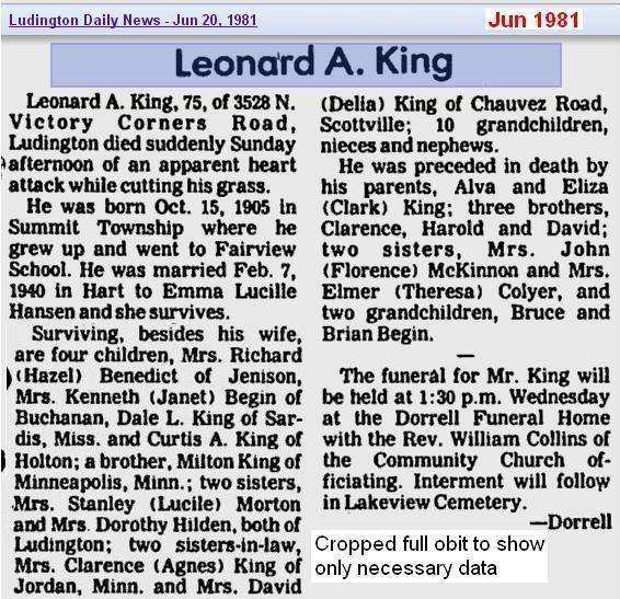 obit - Leonard A King - Jun 1981 - Mich 2