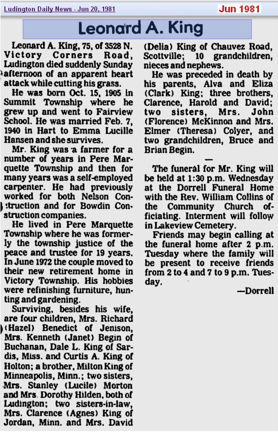 obit - Leonard A King - Jun 1981 - Mich