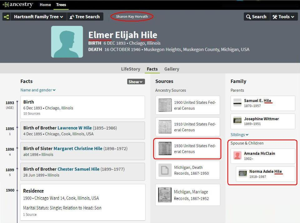 Profile page Elmer E Hile - Sharon Kay Horvath