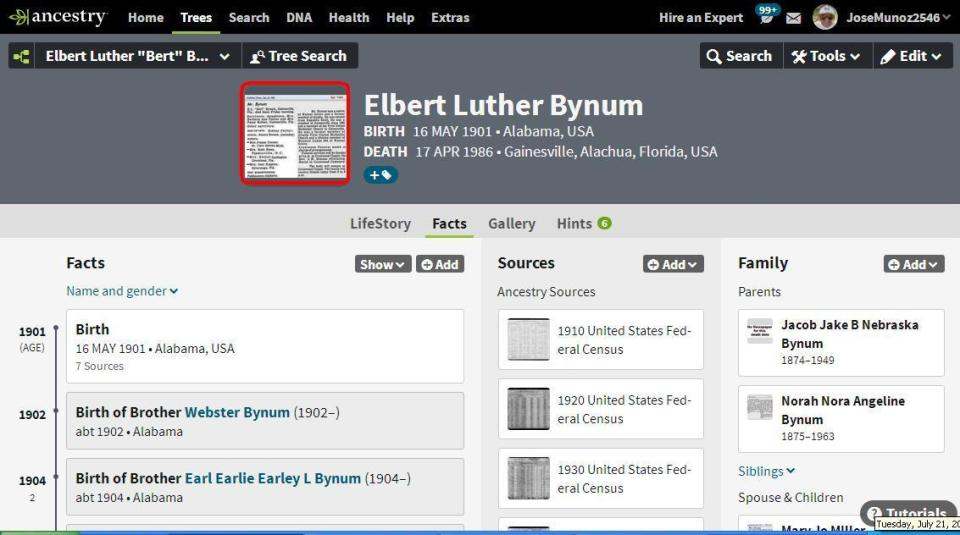 profile page for Elbert