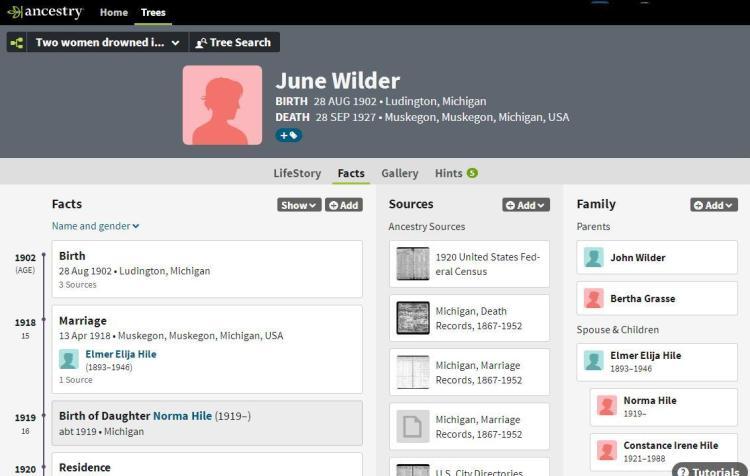 Profile page June Wilder