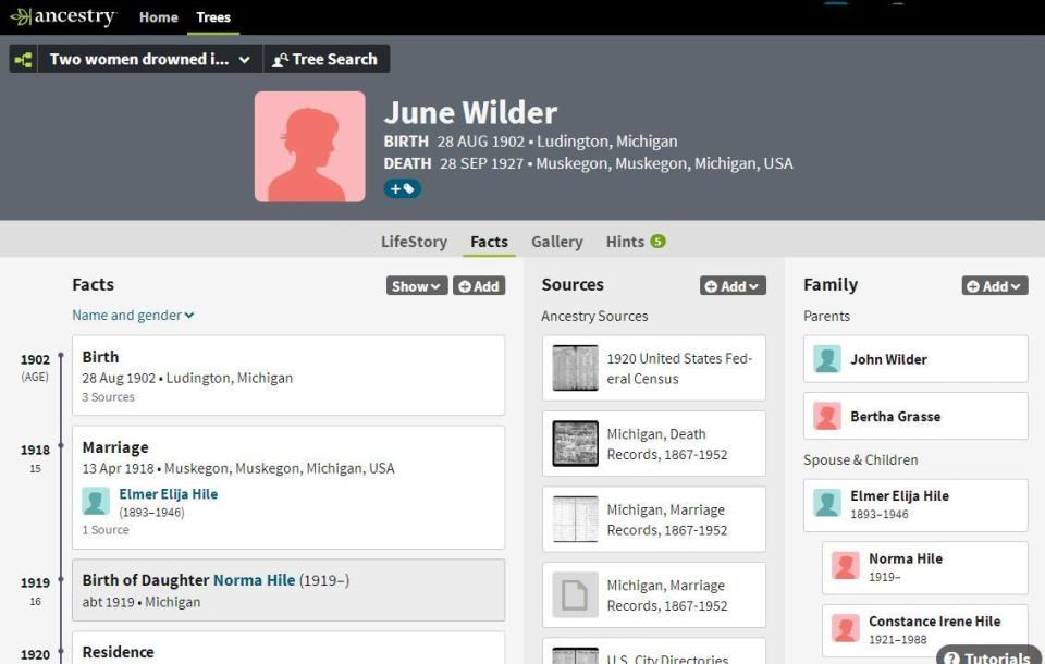 Profile page June Wilder