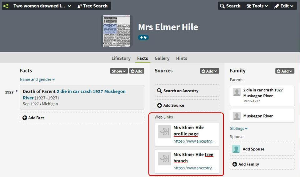 Profile page Mrs Elmer Hile