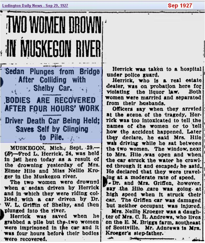 Two Women Drown - Sep 1927 - Muskegon Mich - cropped