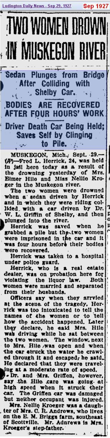 Two Women Drown - Sep 1927 - Muskegon Mich