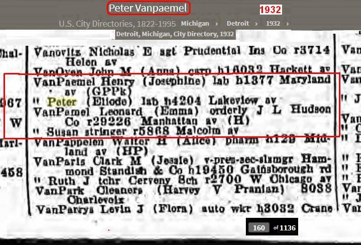 0 - Blog - 1932 - VanPaemel VanPamel family - City Dir - Detroit