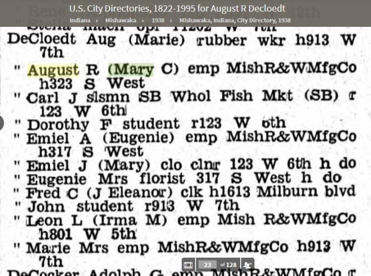 1938 - DeCloedt families - Mishawaka Indiana